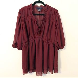 Denim 24/7 Burgundy Ruffle Blouse Size 22W